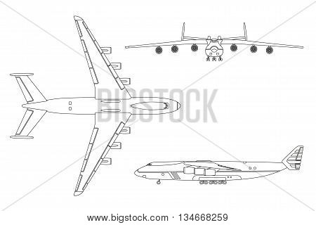 outline drawing plane in a flat style on a white background top view front view
