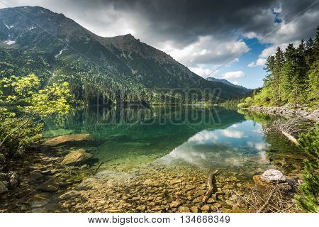 Relaxing At Apline Lake In Summer Day In Mountains
