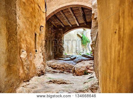 Archway in old town of Miravet. Province of Tarragona. Spain
