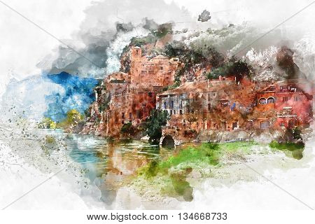 Digital watercolor painting of Miravet village. Province of Tarragona. Spain. Miravet is one of the most charming village in Catalonia