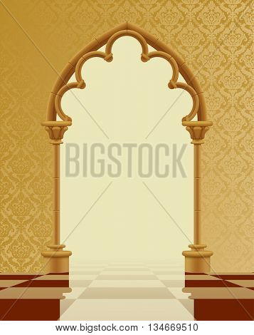 Beige and brown gothic gate with classic decorative background on the chess glossy floor. Vintage architecture frame. Easy to place any your background instead of white. 3D Illustration