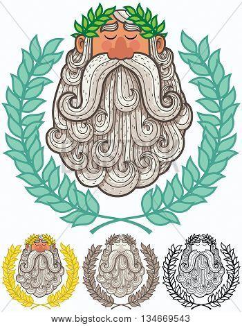 Cartoon Illustration of Roman emperor or Greek god.