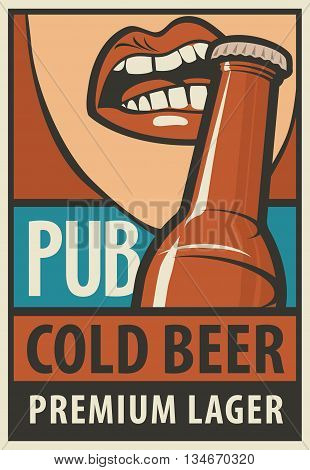 bunner for pub with mouth opens a beer bottle with his teeth in retro style