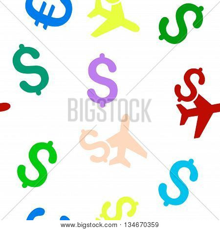 Aviation Business vector seamless repeatable pattern. Style is flat aviation business and dollar symbols on a white background.
