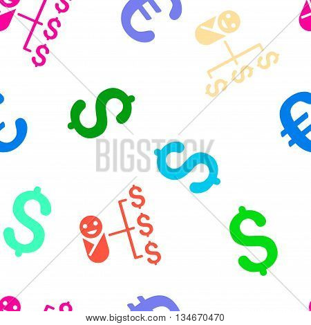 Baby Expenses vector seamless repeatable pattern. Style is flat baby expenses and dollar symbols on a white background.