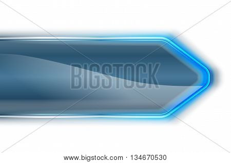 Plastic arrow with blue laser light on white backdrop. Web page or business presentation or technology background with blue light. Vector illustration