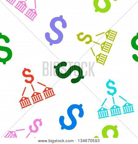 Bank Expenses vector seamless repeatable pattern. Style is flat bank expenses and dollar symbols on a white background.