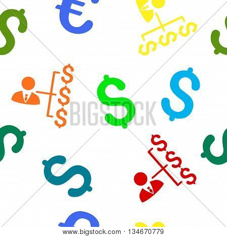 Banker Payments vector seamless repeatable pattern. Style is flat banker payments and dollar symbols on a white background.