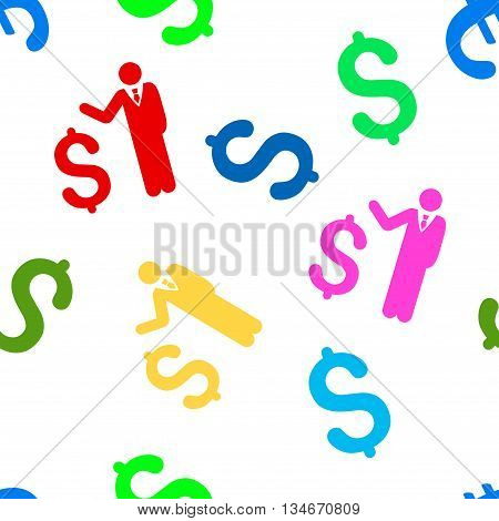 Banker vector seamless repeatable pattern. Style is flat banker and dollar symbols on a white background.
