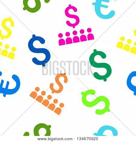 Business Education vector seamless repeatable pattern. Style is flat business education and dollar symbols on a white background.