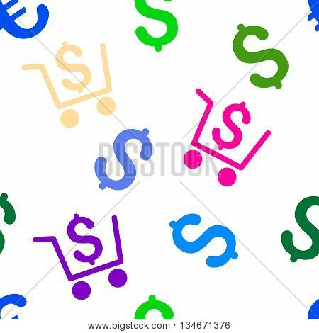 Checkout vector seamless repeatable pattern. Style is flat checkout and dollar symbols on a white background.