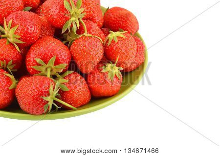 Strawberry on plate isolated on white background