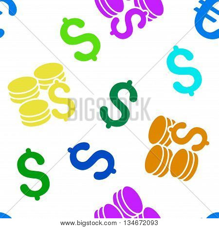 Dollar Coins vector seamless repeatable pattern. Style is flat dollar coins and dollar symbols on a white background.