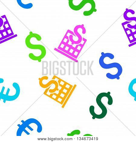 Financial Company Building vector seamless repeatable pattern. Style is flat financial company building and dollar symbols on a white background.