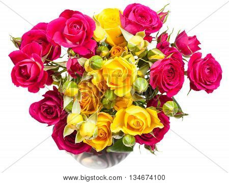 Pink And Yellow Rose Spray Flowers In Vase
