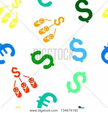 Kid Expenses vector seamless repeatable pattern. Style is flat kid expenses and dollar symbols on a white background.