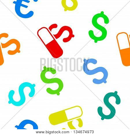 Medication Business vector seamless repeatable pattern. Style is flat medication business and dollar symbols on a white background.