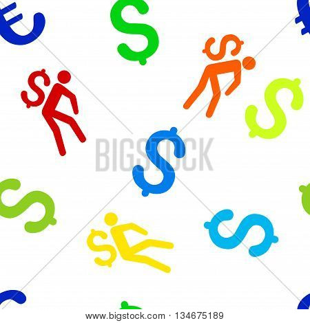 Money Courier vector seamless repeatable pattern. Style is flat money courier and dollar symbols on a white background.