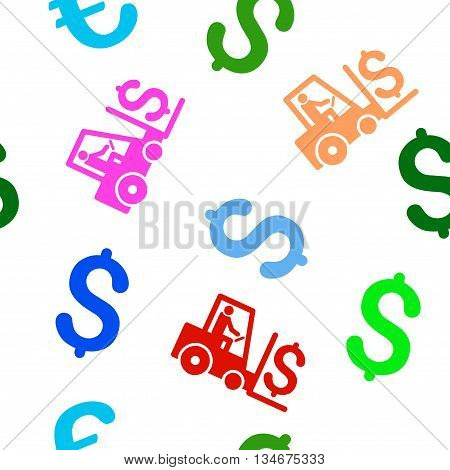 Money Warehouse vector seamless repeatable pattern. Style is flat money warehouse and dollar symbols on a white background.