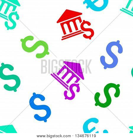 Pay Museum vector seamless repeatable pattern. Style is flat pay museum and dollar symbols on a white background.