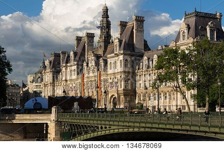 Paris; France-June 15 2016 : The town hall of Paris in colors of the rainbow flag in solidarity with the LGBT community after the Orlando terror attack.