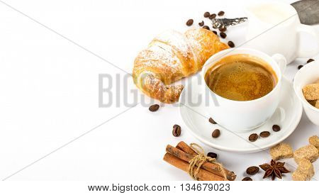 cup of Italian espresso with cinnamon coffee beans brown sugar