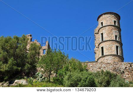 Grimaud France - april 16 2016 : the picturesque historical castle