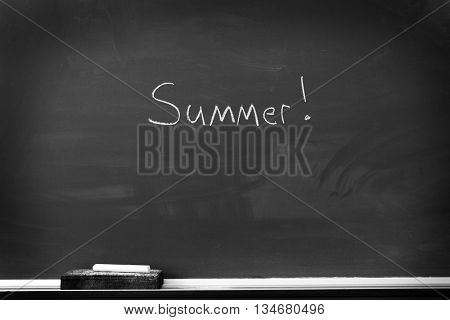 Chalkboard with chalk eraser marks in white chalk Summer Sign