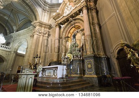 BRAGA, PORTUGAL - September 22, 2015: The main altar and the image of Our Lady in the Sanctuary of Sameiro on September 22, 2015 in Braga, Portugal