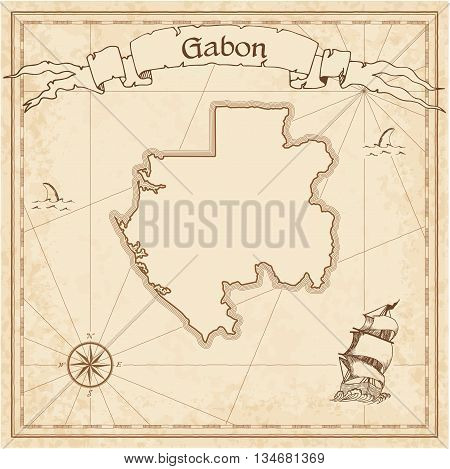Gabon Old Treasure Map. Sepia Engraved Template Of Pirate Map. Stylized Pirate Map On Vintage Paper.