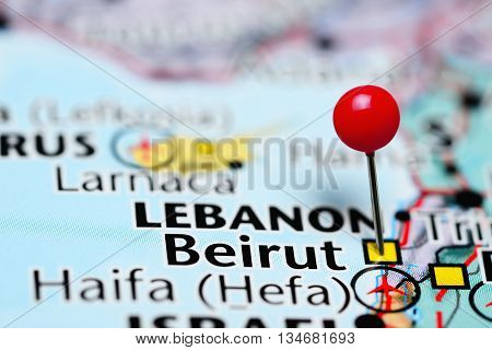 Beirut pinned on a map of Lebanon