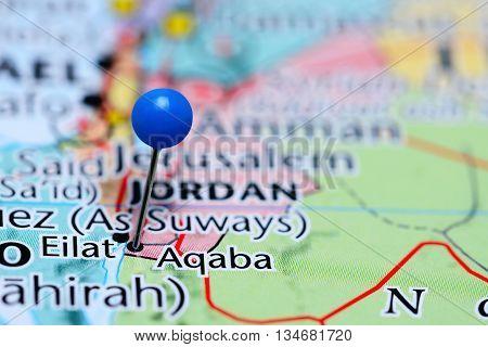 Aqaba pinned on a map of Jordan