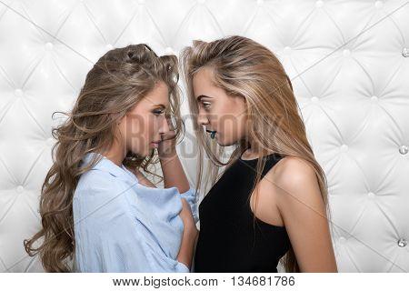Two beautiful sexy girlfriends women in erotic foreplay game