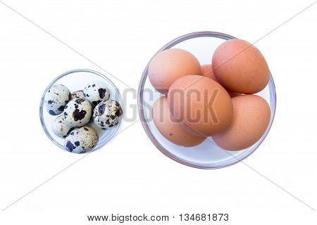 Bowls with quail eggs and chicken on a white background seen from above