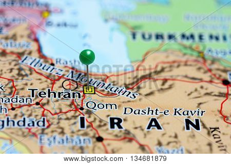 Tehran pinned on a map of Iran