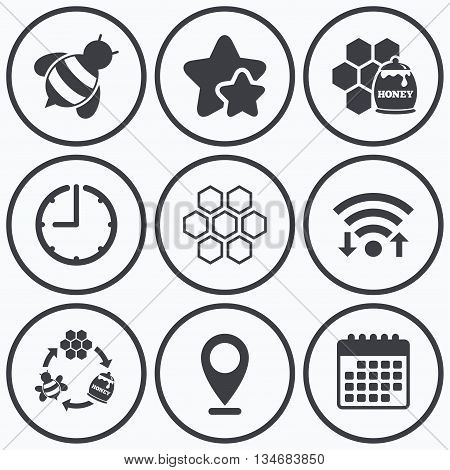 Clock, wifi and stars icons. Honey icon. Honeycomb cells with bees symbol. Sweet natural food signs. Calendar symbol.
