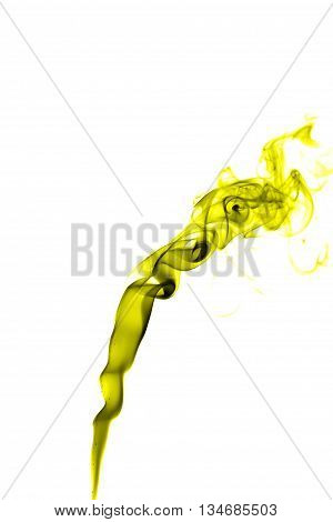 Abstract Yellow Smoke On White Background