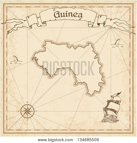 Guinea Old Treasure Map. Sepia Engraved Template Of Pirate Map. Stylized Pirate Map On Vintage Paper
