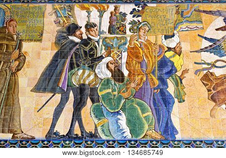 BRAGA, PORTUGAL - September 22, 2015: Tiles panel depicting the Portuguese voyages of the 15th century in the crypt Sanctuary of Sameiro on September 22, 2015 in Braga, Portugal