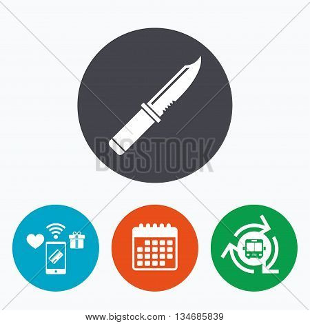 Knife sign icon. Edged weapons symbol. Stab or cut. Hunting equipment. Mobile payments, calendar and wifi icons. Bus shuttle.