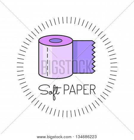 Toilet paper colored flat icon. Vector illustration. Hygiene