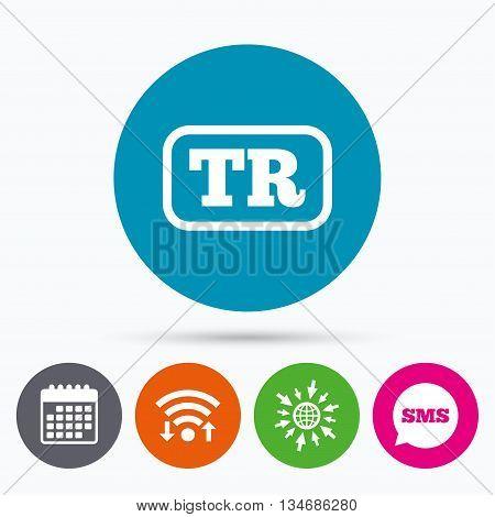 Wifi, Sms and calendar icons. Turkish language sign icon. TR Turkey translation symbol with frame. Go to web globe.