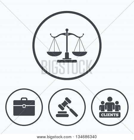 Scales of Justice icon. Group of clients symbol. Auction hammer sign. Law judge gavel. Court of law. Icons in circles.
