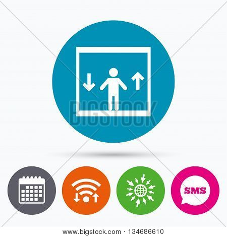 Wifi, Sms and calendar icons. Elevator sign icon. Person symbol with up and down arrows. Go to web globe.
