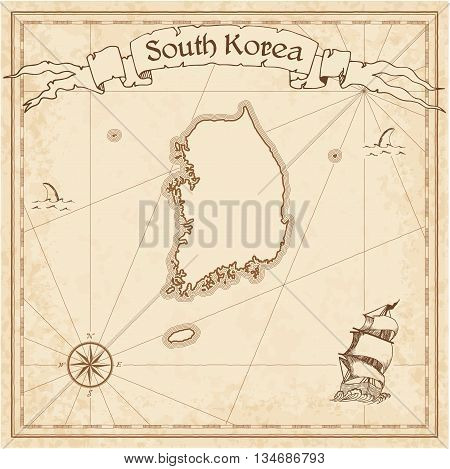 Korea, Republic Of Old Treasure Map. Sepia Engraved Template Of Pirate Map. Stylized Pirate Map On V