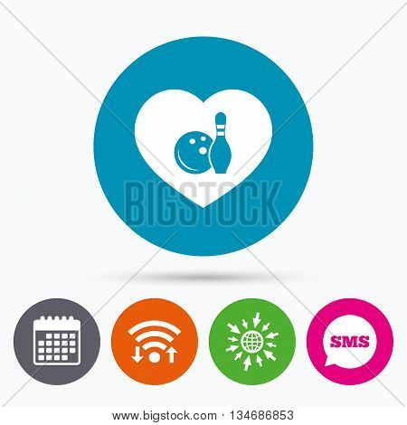Wifi, Sms and calendar icons. Love Bowling game sign icon. Ball with pin skittle symbol. Go to web globe.