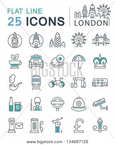 Set vector line icons in flat design London England and tourism with elements for mobile concepts and web apps. Collection modern infographic logo and sign.