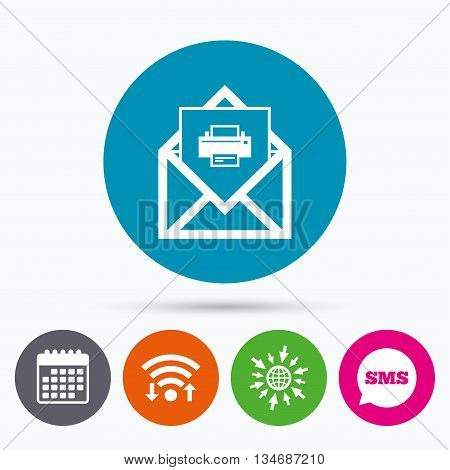 Wifi, Sms and calendar icons. Mail print icon. Envelope symbol. Message sign. Mail navigation button. Go to web globe.