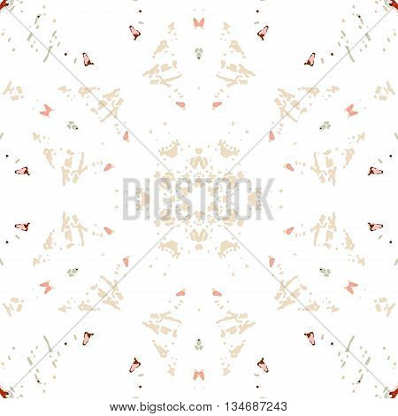 Multicolored kaleidoscopic tile element colored with stylish palette. Symmetrical seamless pattern that can be used as a background texture or for print.