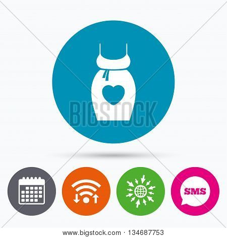 Wifi, Sms and calendar icons. Pregnant woman dress sign icon. Maternity with heart clothing symbol Go to web globe.